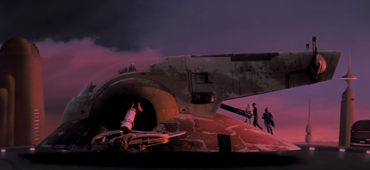 Han frozen in carbonite being loaded into Boba Fett's ship, Slave I