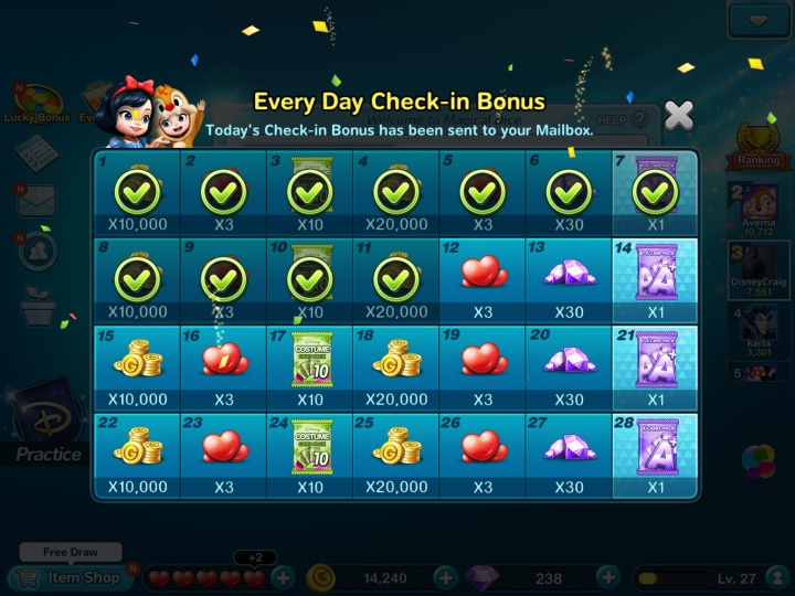 Daily bonuses help you level up your characters and your items