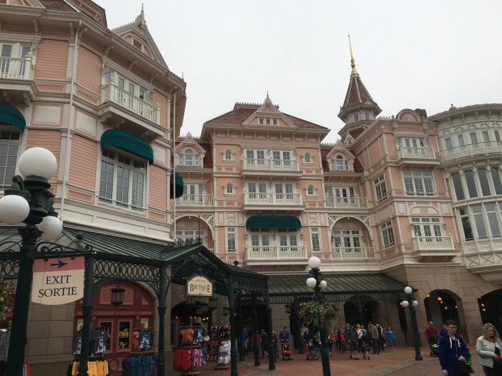 The outside of the hotel from inside the park!
