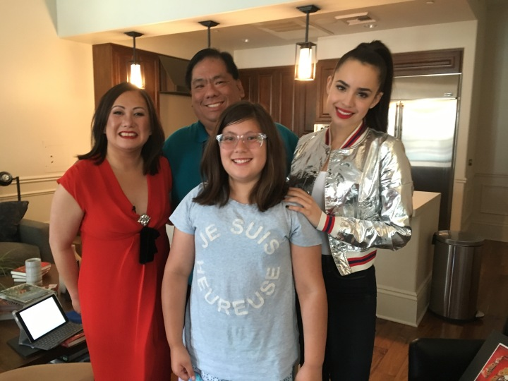 My daughter and I getting to take a picture with Melissa and Sofia after our interview together