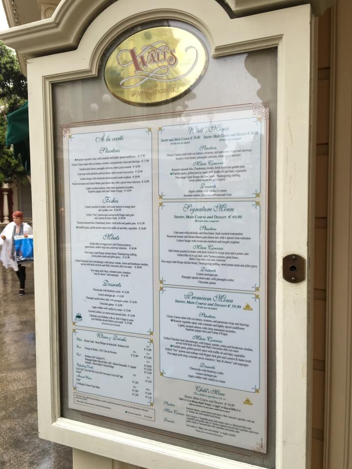 Walt's Restaurant menu including some delicious looking prix fixe options