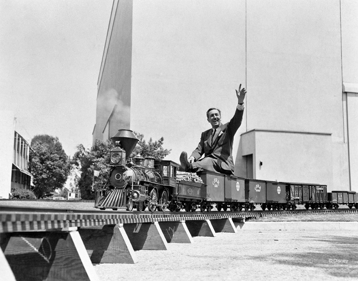 Walt Disney aboard his Carolwood Pacific Railroad, seen here set up at The Walt Disney Studios in the spring of 1951 prior to it's installation at Walt's Carolwood Drive home in Holmby Hills, California.