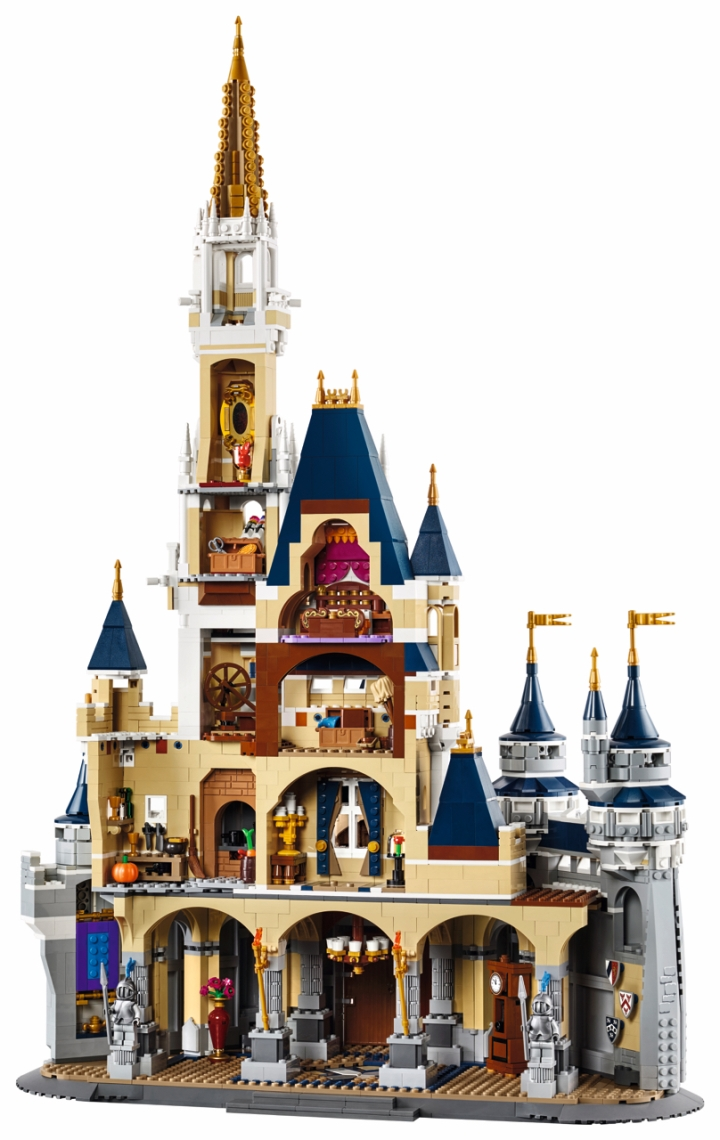 A built LEGO Disney Castle with the rooms revealed from the rear