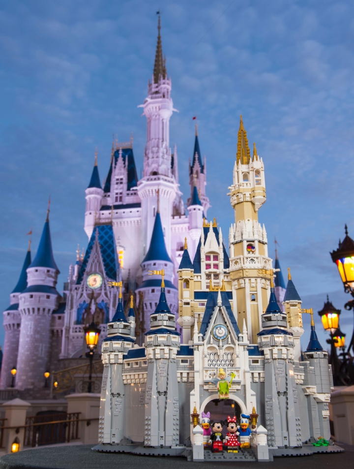 The LEGO Disney Castle set as photographed in front of the actual Walt Disney World Cinderella Castle on which it is based