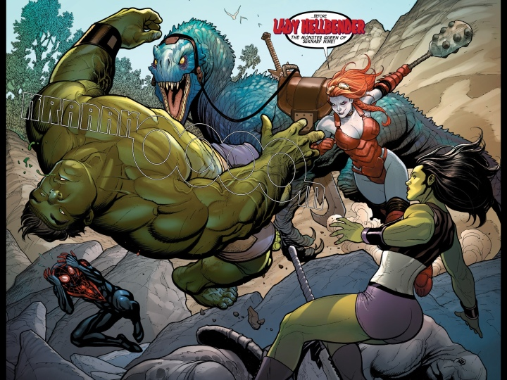 Amazing two page spread of the Hulk in battle with Lady Hellbender