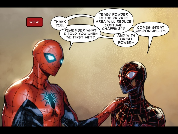 A bit of mentoring by the original Spider-Man to young Miles Morales