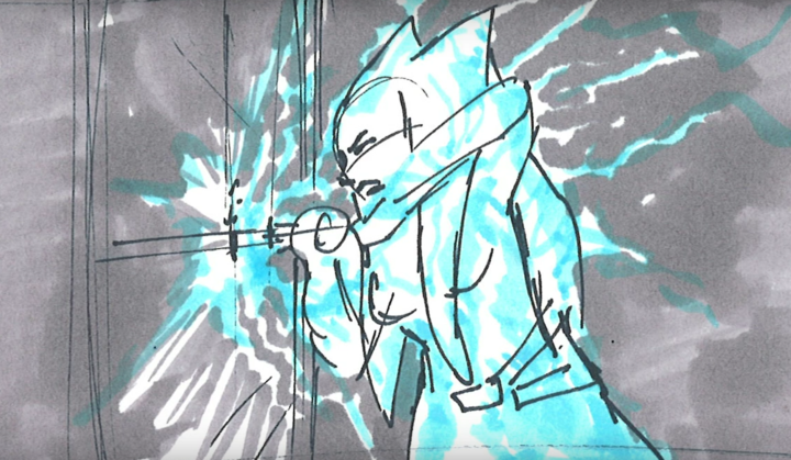 Ahsoka sealing the door while Force lightning sent by the Emperor is racing up her blade and covering her body