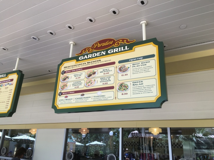 Paradise Garden Grill menu includes choice of protein (including tofu) and choice of sauce to make your skewer