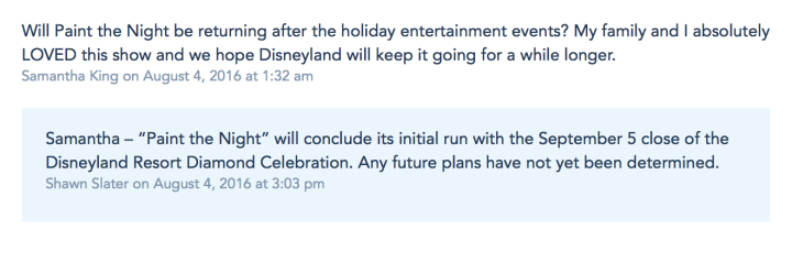 Comment by Shawn Slater from the Disney Parks Blog