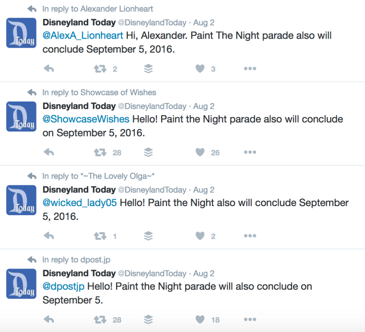 Disneyland Today responds to concerned and disappointed fans of Paint the Night