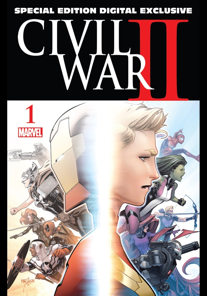 The cover art work for the digital exclusive first issue of Civil War II