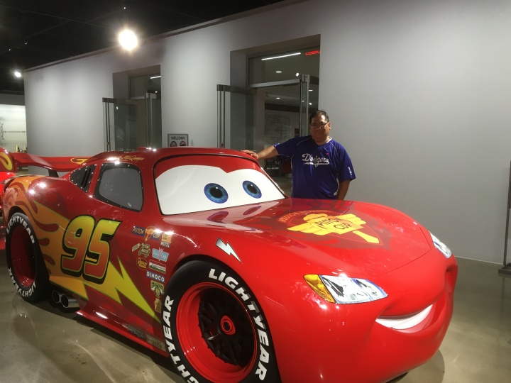 My buddy Lightning McQueen and I at the Petersen Automotive Museum