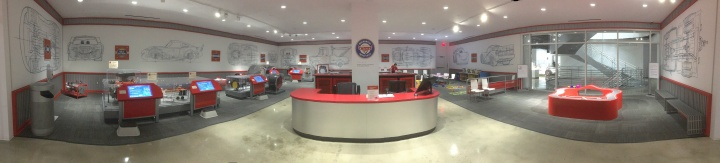 A panoramic view of the Cars Institute in the Petersen Automotive Museum