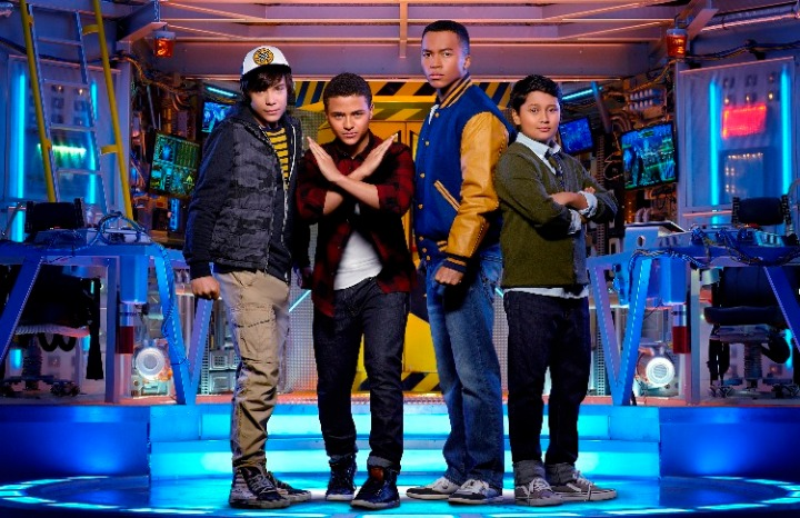 "MECH-X4 - Disney Channel's ""MECH-X4""  stars Pearce Joza as Spyder, Nathaniel James Potvin as Ryan Walker, Raymond Cham as Mark Walker and Kamran Lucas as Harris. (Disney Channel/Bob D'Amico)"