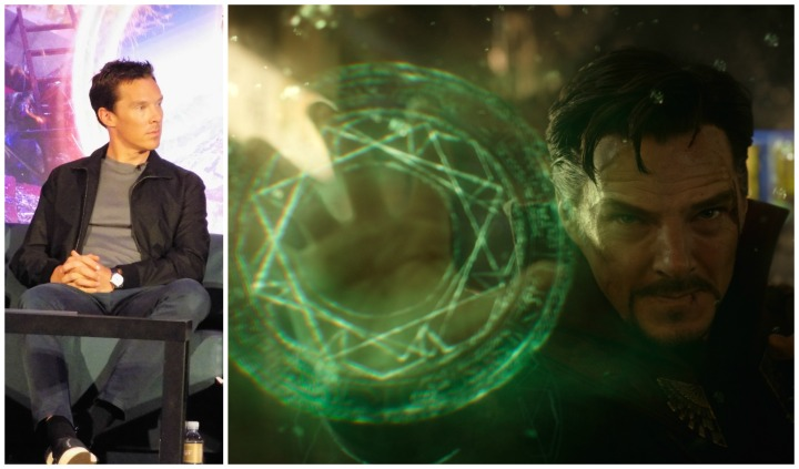 Benedict Cumberbatch at the press conference (left) and as Doctor Strange (right)