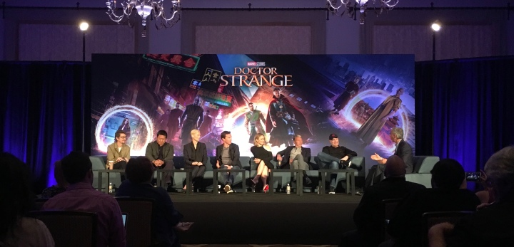 From L to R: Scott Derrickson (director), Benedict Wong (Wong), Tilda Swinton (The Ancient One), Benedict Cumberbatch (Doctor Strange), Rachel McAdams (Christine Palmer), Mads Mikkelsen (Kaecilius), Kevin Feige (Producer)