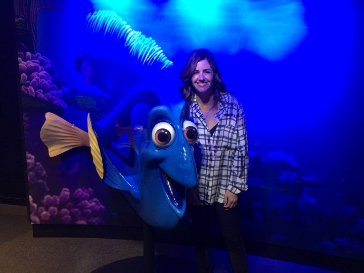 Having the chance to interview Lindsey Collins, VP of Development and New Media and producer of Finding Dory was a treat. Even more fun to take a picture of her with her creation come to life.