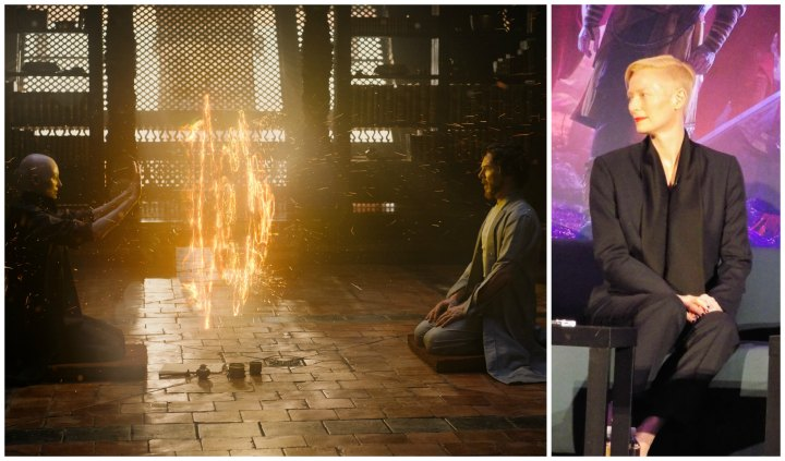 Tilda Swinton as The Ancient One teaching Stephen Strange (left) and at the press conference (right)
