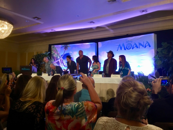At the press conference for Moana: (L to R) Ron, John, Lin, Dwayne, Auli'i, Opetaia, Osnat