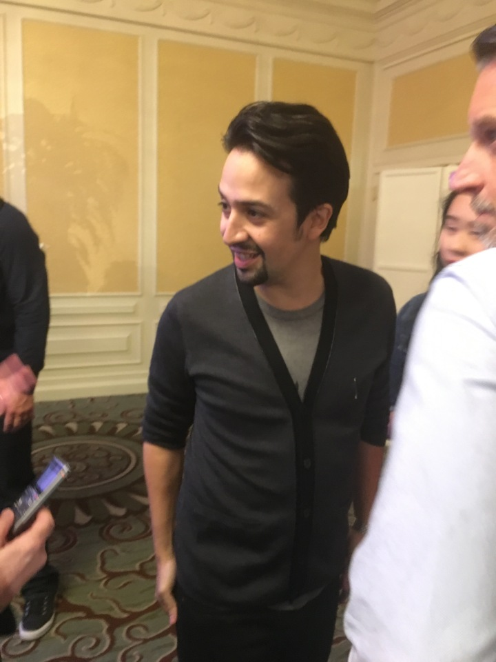 Lin Manuel-Miranda answering a few questions after the press conference