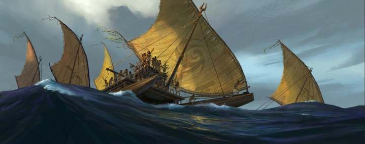 Designing believable sailing vessels for this time and place was something of a challenge for the team