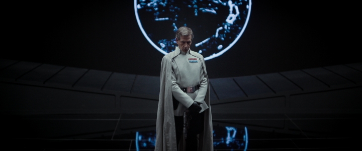 Director Krennic (Ben Mendelsohn) with rudimentary images in the background Ph: Film Frame ©Lucasfilm LFL