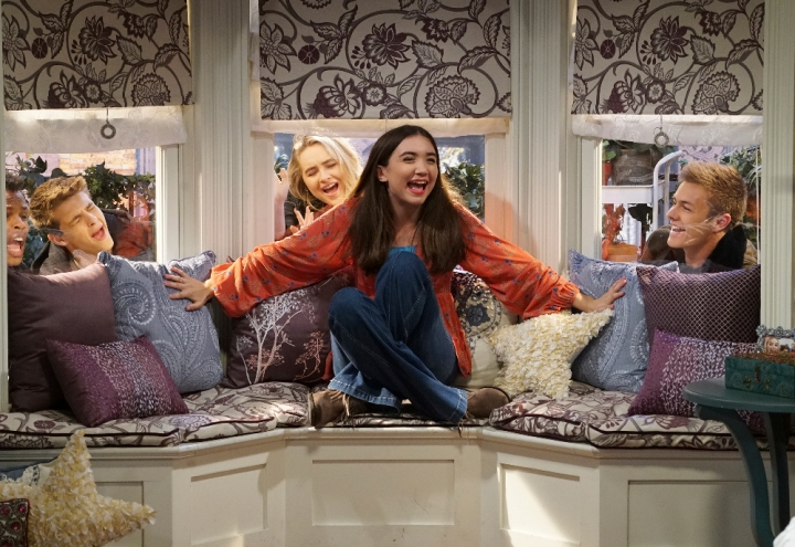 "GIRL MEETS WORLD - ""Girl Meets Her Monster"" - Riley skips out on helping Topanga at the bakery to stay home and binge-watch her favorite TV show and Topanga is not pleased. This episode of ""Girl Meets World"" airs Friday, November 04 (8:30 - 9:00 P.M. EDT) on Disney Channel. (Disney Channel/Ron Tom) (Disney Channel/Ron Tom) AMIR MITCHELL-TOWNES, COREY FOGELMANIS, SABRINA CARPENTER, ROWAN BLANCHARD, PEYTON MEYER"