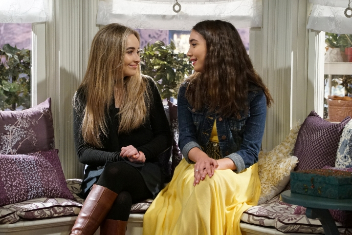 "GIRL MEETS WORLD - ""Girl Meets Sweet Sixteen"" - With Riley's 16th birthday approaching, the kids contemplate the future and how rapidly their relationships will change in a few short years. This episode of ""Girl Meets World"" airs Friday, January 13 (6:00 - 6:30 P.M. EST) in Disney Channel. (Disney Channel/Ron Tom) SABRINA CARPENTER, ROWAN BLANCHARD"