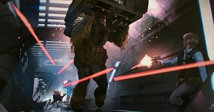 Reminiscent of many Star Wars: A New Hope scenes, this one features Jyn (on the right), Senna (carrying the computer), and Lunak (the fox like little guy at the bottom left)