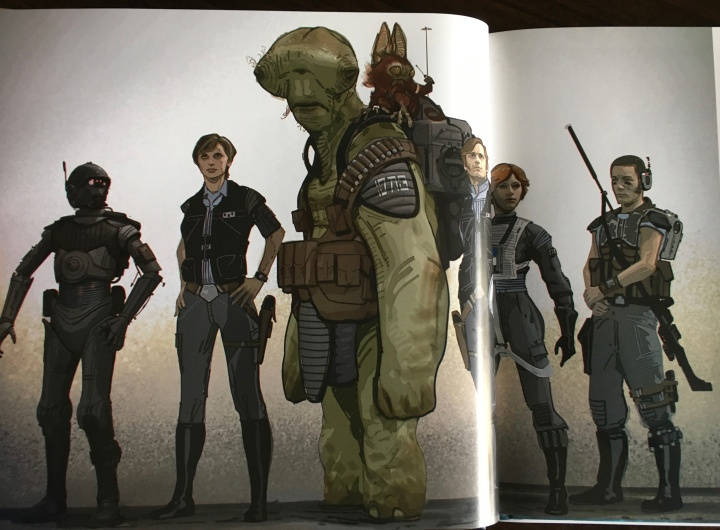"The ""original"" team of K-2SO, Jyn, Senna and Lunak, Dray Nevis, Ria Talla, and Jerris Kestal.  I love the team they went with - much more diverse and galactic"