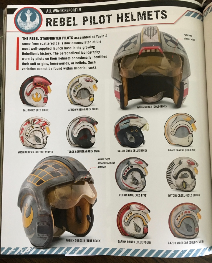 The helmets of the different Rebel pilots