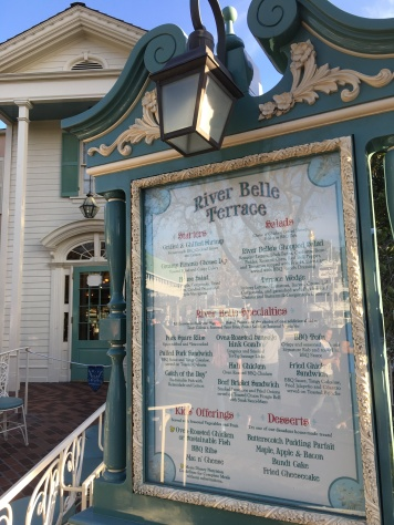 The menu out front of the River Belle Terrace