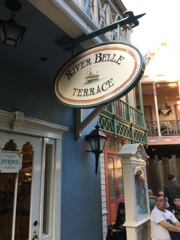 River Belle Terrace sign is interestingly on the backside of the restaurant