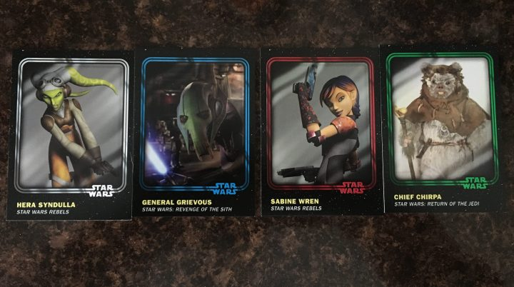 Base cards in different colors from the Star Wars Card Trader trading card collection
