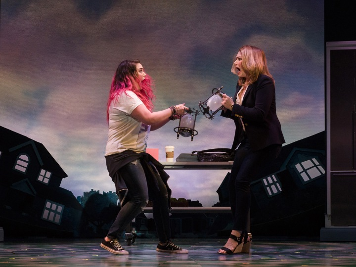 Emma Hunton (left) and Heidi Blickenstaff in La Jolla Playhouse's production of Disney's Freaky Friday, book by Bridget Carpenter, music by Tom Kitt, lyrics by Brian Yorkey, directed by Christopher Ashley, running January 31 – March 12 in the Mandell Weiss Theatre; photo by Jim Carmody.