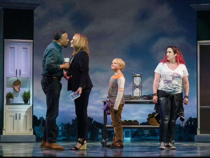 (L-R) David Jennings, Heidi Blickenstaff, Jake Heston Miller and Emma Hunton in La Jolla Playhouse's production of Disney's Freaky Friday, book by Bridget Carpenter, music by Tom Kitt, lyrics by Brian Yorkey, directed by Christopher Ashley, running January 31 – March 12 in the Mandell Weiss Theatre; photo by Jim Carmody.