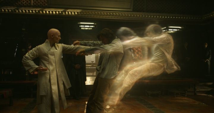 Tilda Swinton portrays The Ancient One in Marvel's DOCTOR STRANGE and does a tremendous job shaking up the Ancient One stereotypes L to R: The Ancient One (Tilda Swinton) and Doctor Stephen Strange (Benedict Cumberbatch) Photo Credit: Film Frame ©2016 Marvel. All Rights Reserved.