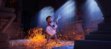 "ASPIRING MUSICIAN — In Disney•Pixar's ""Coco,"" Miguel (voice of newcomer Anthony Gonzalez) dreams of becoming an accomplished musician like the celebrated Ernesto de la Cruz (voice of Benjamin Bratt). But when he strums his idol's guitar, he sets off a mysterious chain of events. Directed by Lee Unkrich, co-directed by Adrian Molina and produced by Darla K. Anderson, ""Coco"" opens in theaters Nov. 22, 2017."
