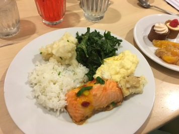 My plate of soy-glazed salmon, creamy polenta, braised kale, and other yummy items