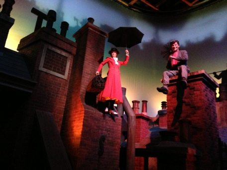 Mary Poppins floats (almost) magically into the air in this recreation of the film
