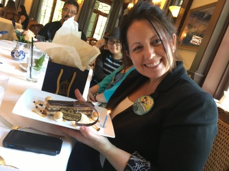 Andrea not only got a special birthday chocolate treat on her dessert, but they sent her away with a selection of macarons in a Club 33 gift bag