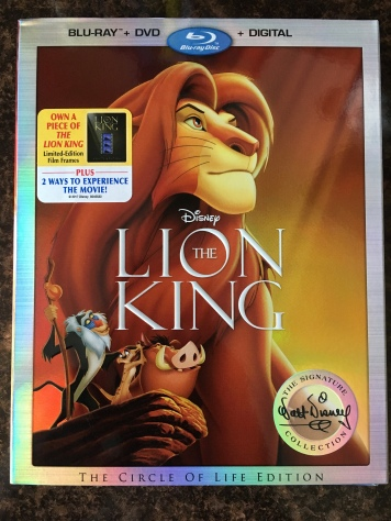 The cover of the Blu-Ray release of The Lion King