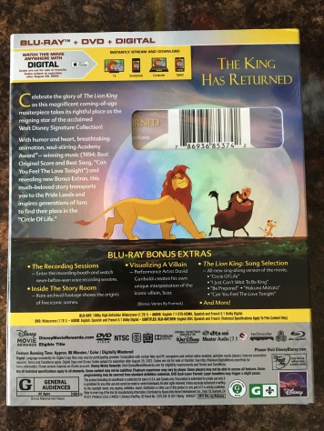 The back cover of The Lion King Signature Collection reveals new features