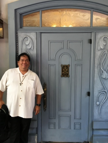 Standing at the new entrance to Club 33.