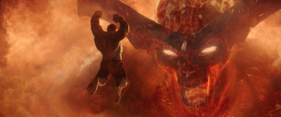 Marvel Studios' THOR: RAGNAROK..L to R: Hulk (Mark Ruffalo) and Surtur..Ph: Film Frame..©Marvel Studios 2017