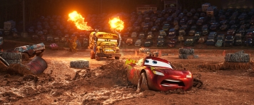 "CRAZY 8 DRAMA — In ""Cars 3,"" Lightning McQueen (voice of Owen Wilson) hits the road in an effort to reignite his career. Along the way, he finds himself in the middle of a smash-and-crash, figure-8 race, facing off against local legend Miss Fritter, a formidable school bus who—like #95 himself—doesn't like to lose. Featuring Lea DeLaria (Netflix's ""Orange is the New Black"") as the voice of Miss Fritter, Disney•Pixar's ""Cars 3"" opens in U.S. theaters on June 16, 2017. ©2017 Disney•Pixar. All Rights Reserved."