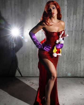 Samantha rocks it as Jessica Rabbit. Love the Roger prop in her hand!