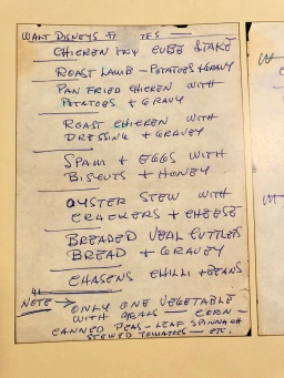 A list of Walt's favorite at home eats he made for their cook Fou Fou