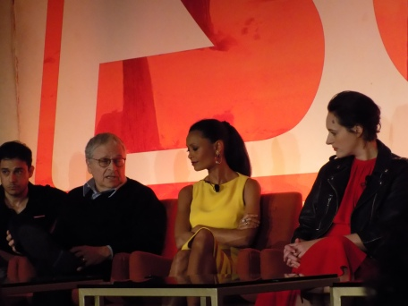 From left to right: Jonathan and Lawrence Kasdan (writers), Thandie Newton (Val), and Phoebe Waller-Bridge (L3)