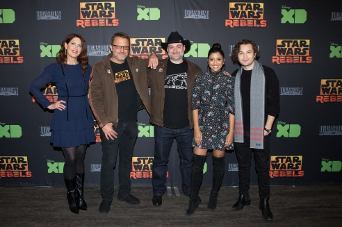 "STAR WARS REBELS - The cast and creative team of Disney XD's popular animated series ""Star Wars Rebels"" attend a screening of the highly-anticipated series finale on FRIDAY, MARCH 2 at the Walt Disney Studios Main Theatre in Burbank, California. The ""Star Wars Rebels"" finale airs MONDAY, MARCH 5 (8:30-10:00 p.m. ET) on Disney XD. (Disney XD/Paul Hebert) VANESSA MARSHALL, STEVE BLUM, DAVE FILONI, TIYA SIRCAR, TAYLOR GRAY"